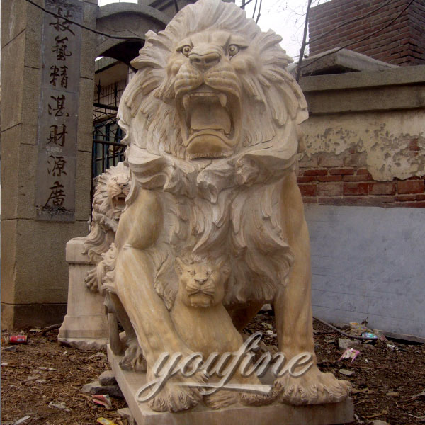Marble stone roaring lion statues for lawn ornaments with cost price