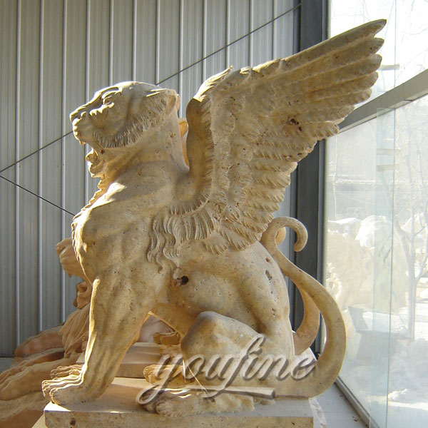 Winged stone large lion statues pair for garden ornaments on discount sale