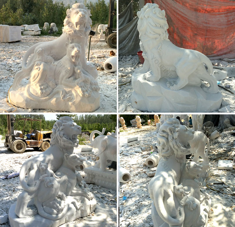 Big guardian lion statue lion family at Entrance for Indian customer
