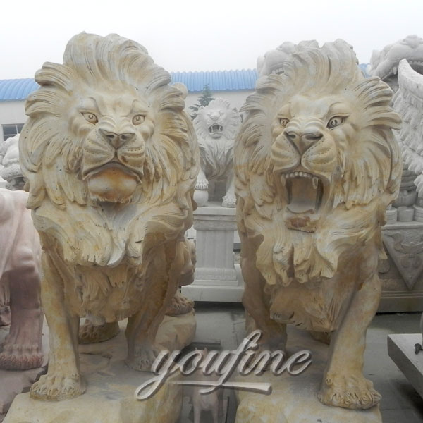 Decorative large outdoor roaring strong marble lion statues for garden ornaments