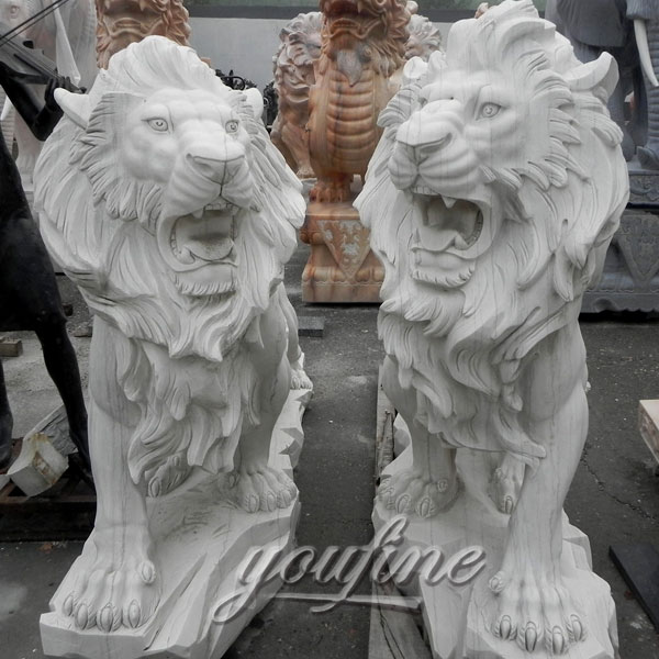 Garden  white marble stone lion for lawn ornaments decoration