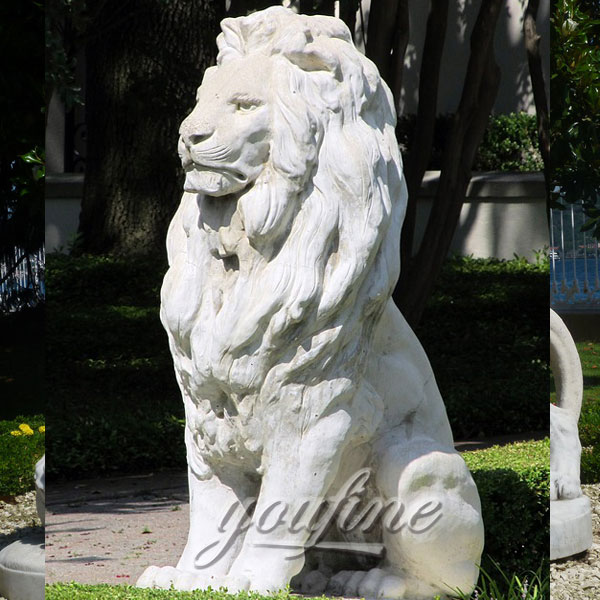 Garden ornaments sitting stone white lion statues outdoor for sale