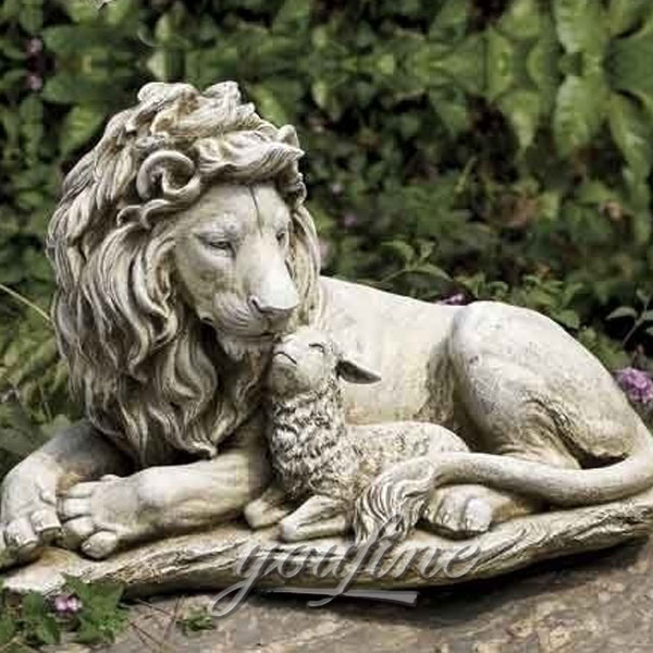 Large marble lion and lamb garden statue for sale