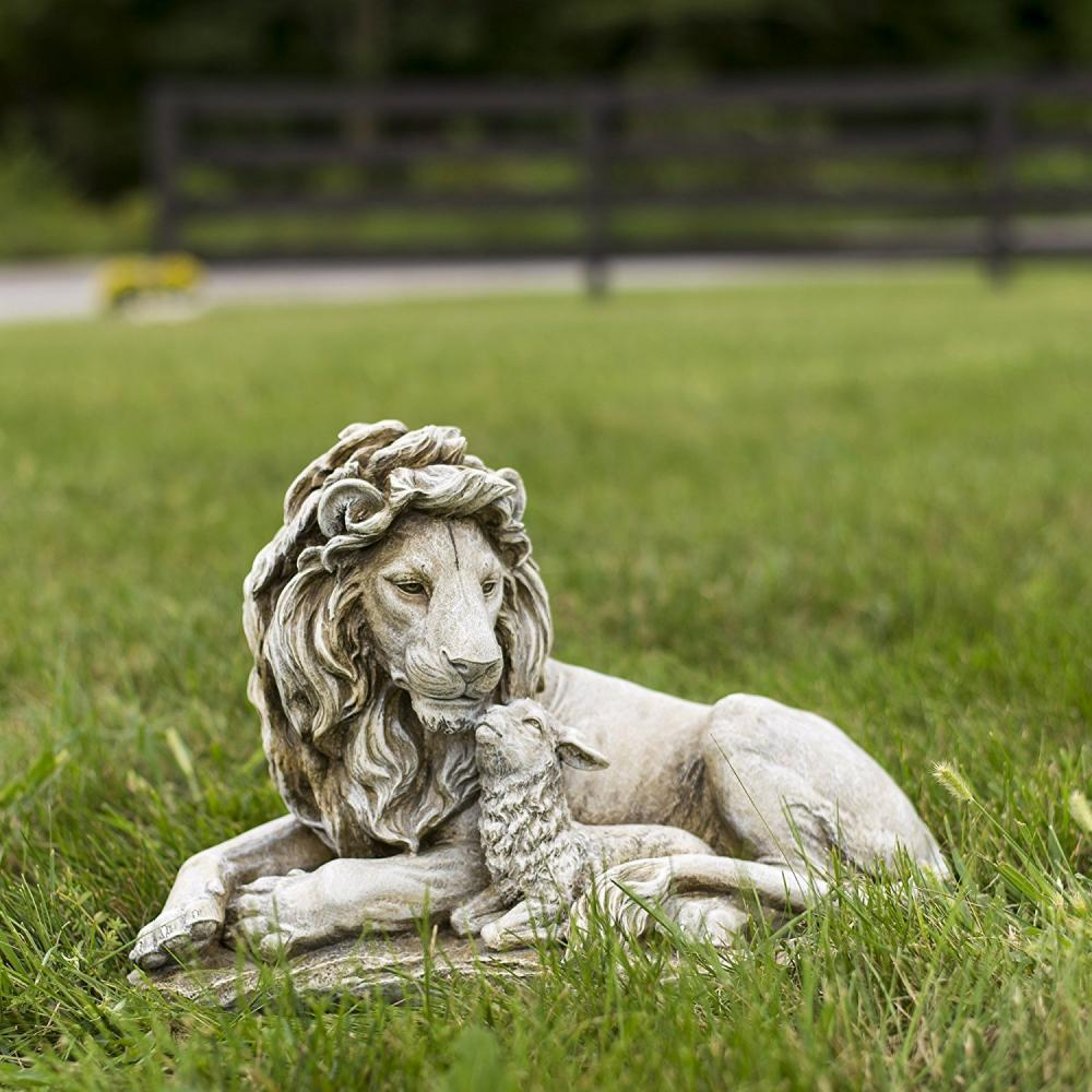 Lion and Lamb Garden Statues