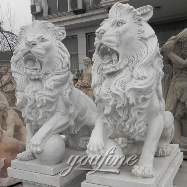 Outdoor Marble Lion Stone Statues with ball for garden ornaments decoration