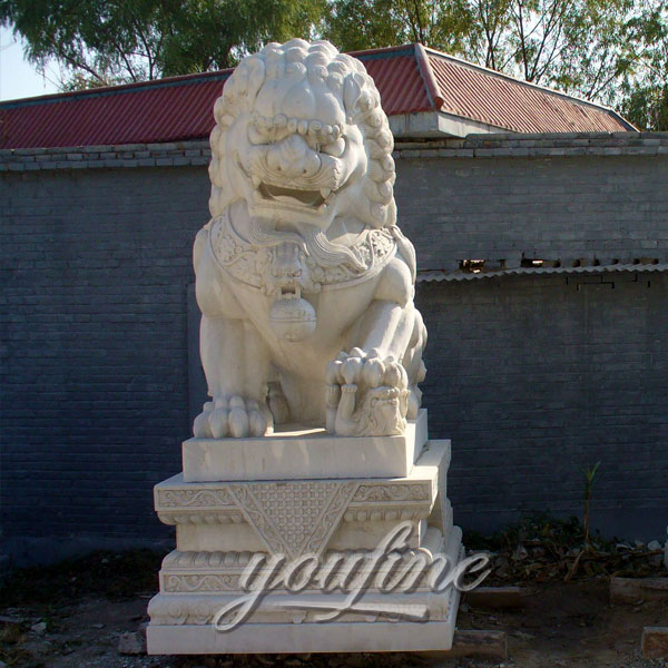 Outdoor beige marble stone guardian foo dog traditional for gate
