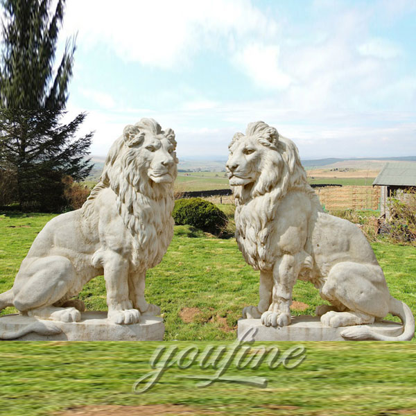 Outdoor small marble lion statues pair for sale