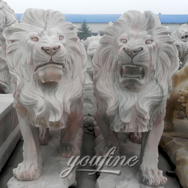 Outdoor pure white marble roaring lion statues for outside house