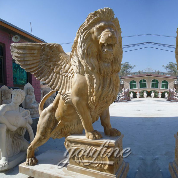 Outdoor granite winged  stone lion statue for garden ornaments