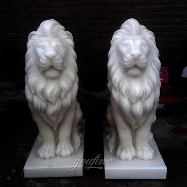 Pair of lion statues stone lion statues for driveway