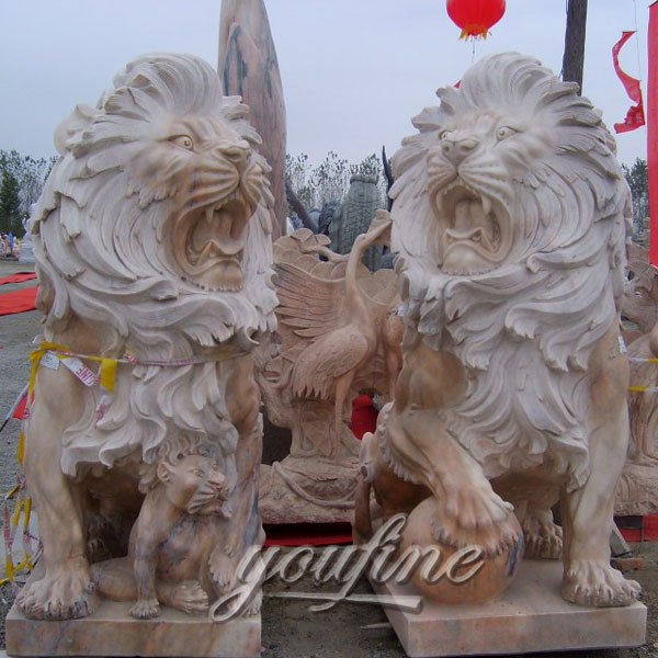 Roaring lions statues pair stone animal statue for front porch