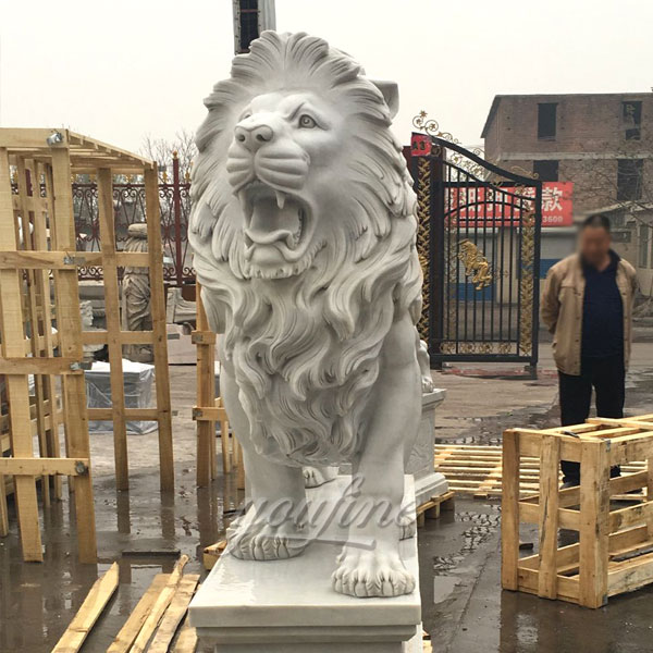 Western stone large roaring lion statue for sale