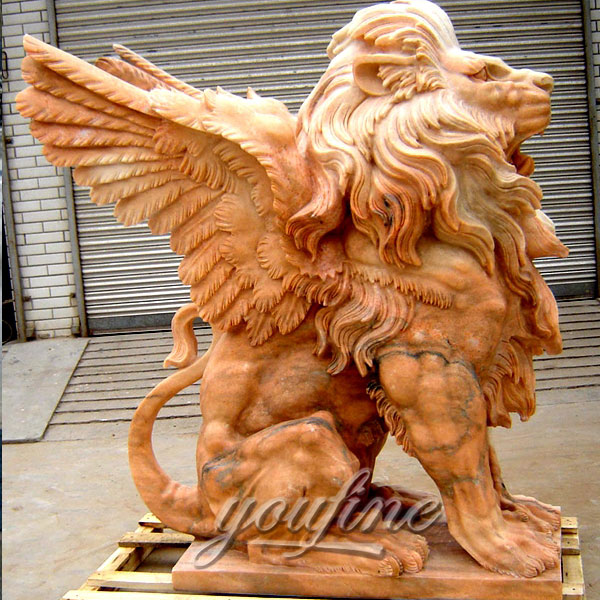 Winged stone lion statue for outdoor lawn ornaments