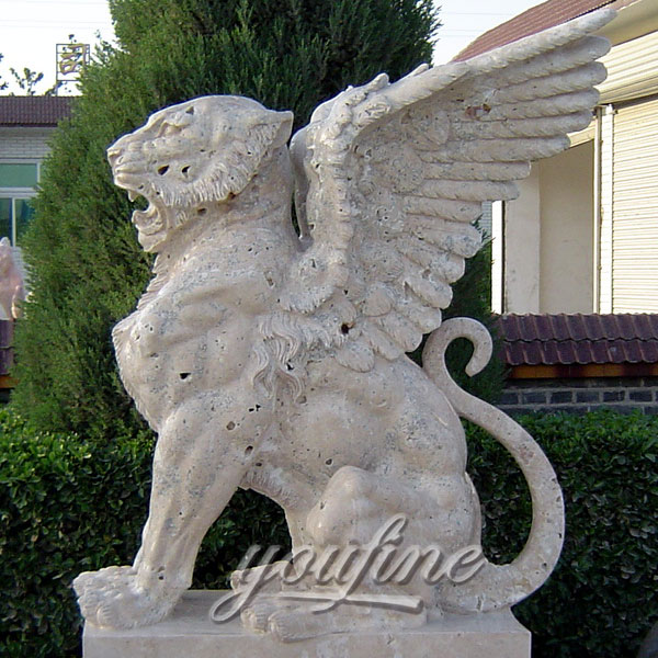 Winged white marble lion statue for yard decor