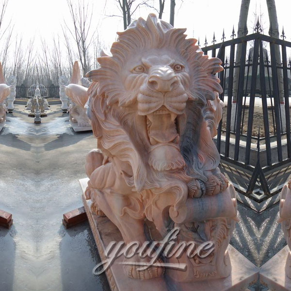 Yellow roaring life size marble lion statues for lawn ornaments decoration