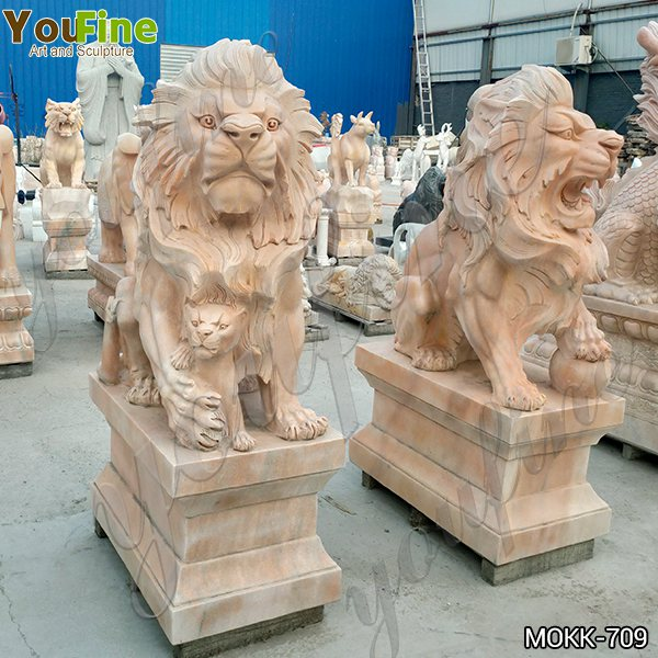 Classic Life Size Beige Marble Lion Statue for Front Porch Supplier MOKK-709
