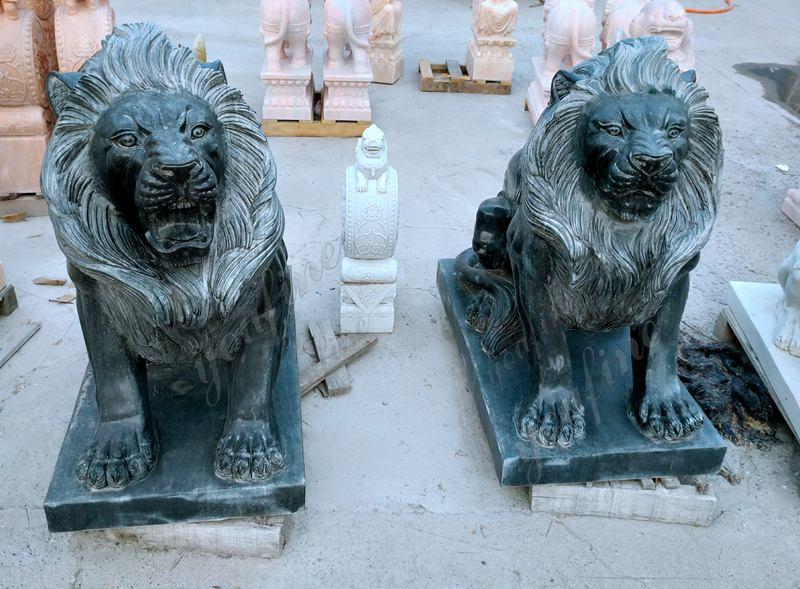 Black Marble Lion Statue Details