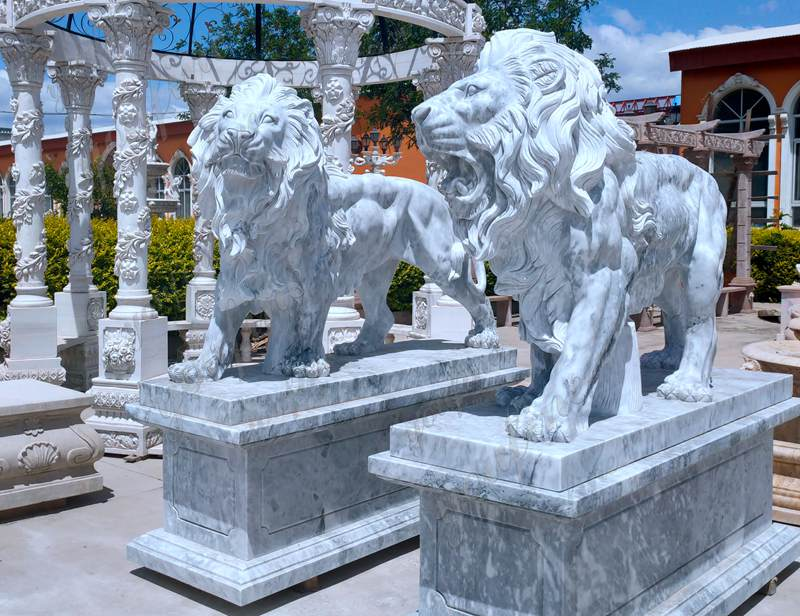 Hand Carved Western Marble Lion Statue with Base details