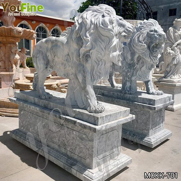 Hand Carved Western Marble Lion Statue with Base for Sale MOKK-701