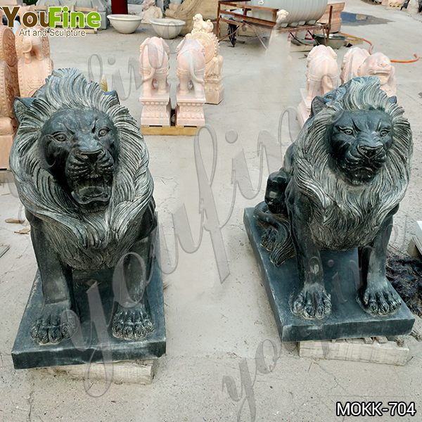 High Quality Black Marble Lion Statue for Gate Decoration Supplier MOKK-704