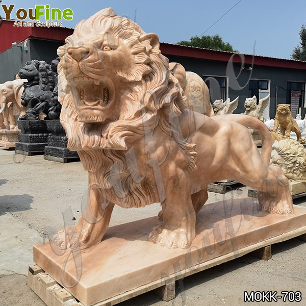 Life Size Marble Lion Statue for Front Porch Supplier MOKK-703