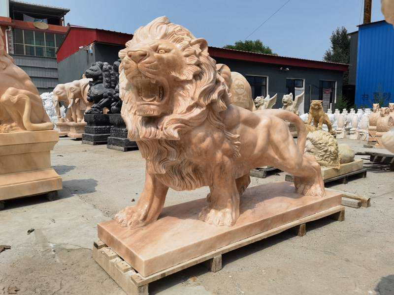 Life Size Marble Lion Statue for Front Porch