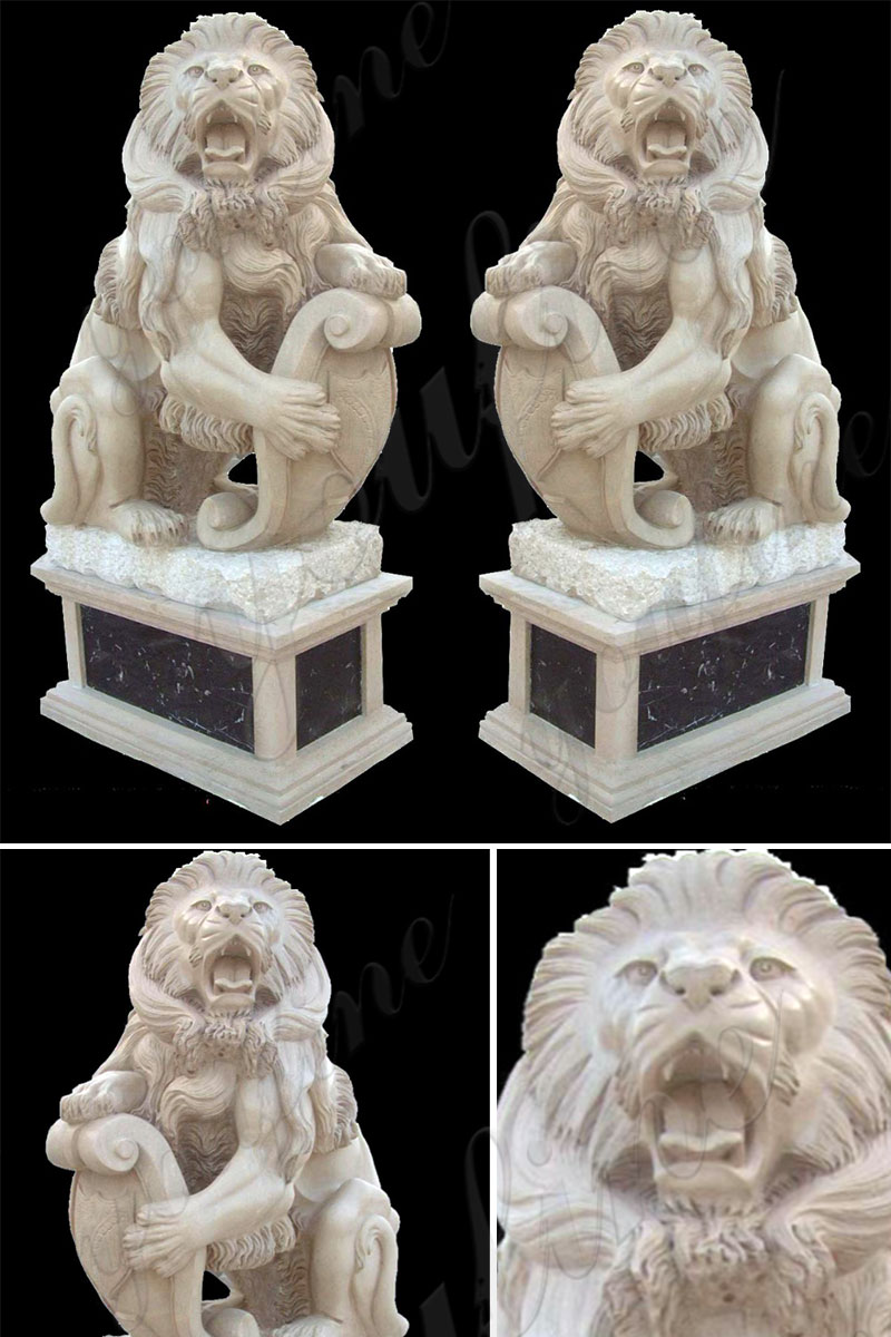 Life Size Western Marble Lion Statue with Base Details