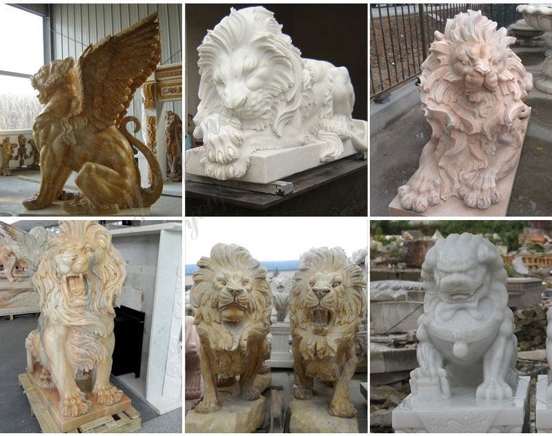 Life Size Western Marble Lion Statue with Base RELATED