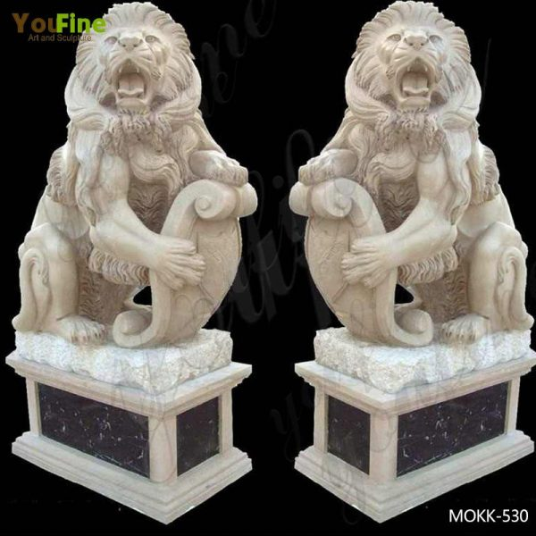 Life Size Western Marble Lion Statue with Base for Sale MOKK-530