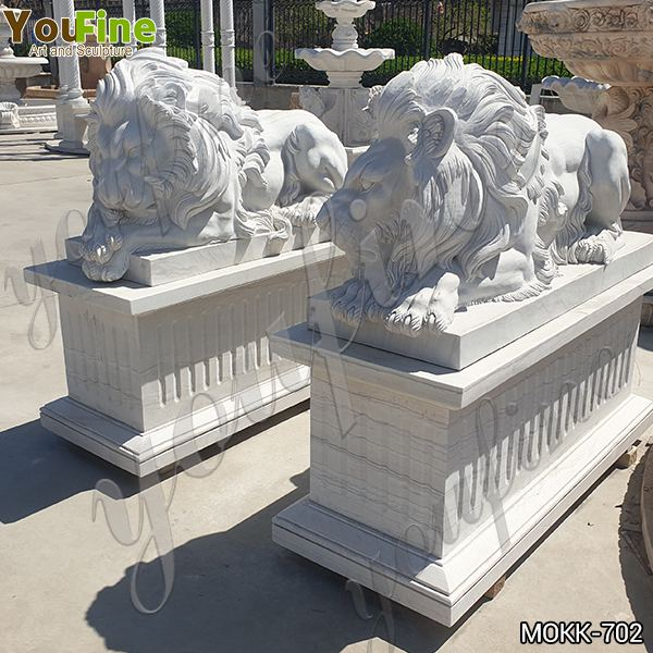 Life Size White Marble Lion Statue for Front Porch Supplier MOKK-702