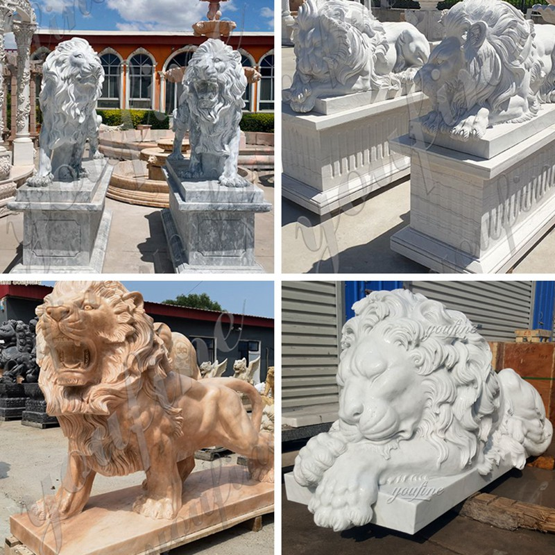 Other Designs of Outdoor Large Stone Lion and Lamb Garden Statue for Sale