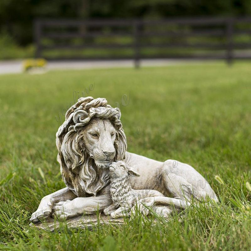 Outdoor Large Stone Lion and Lamb Garden Statue for Sale Details