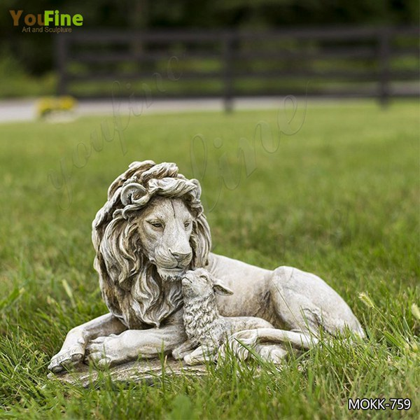 Outdoor Large Stone Lion and Lamb Garden Statue for Sale MOKK-759