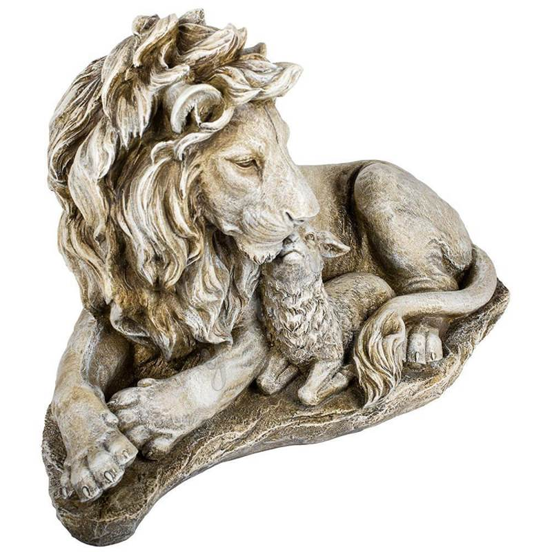 Outdoor Large Stone Lion and Lamb Garden Statue for Sale