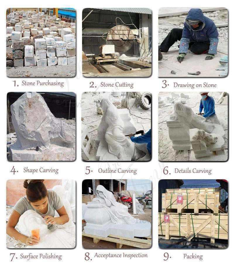 Production Process of Life Size Western Marble Lion Statue with Base