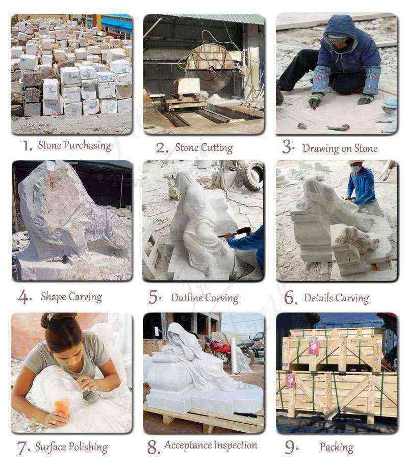 Hand Carved Guardian Western Sleeping Lion Statue Yard Decor Production Process