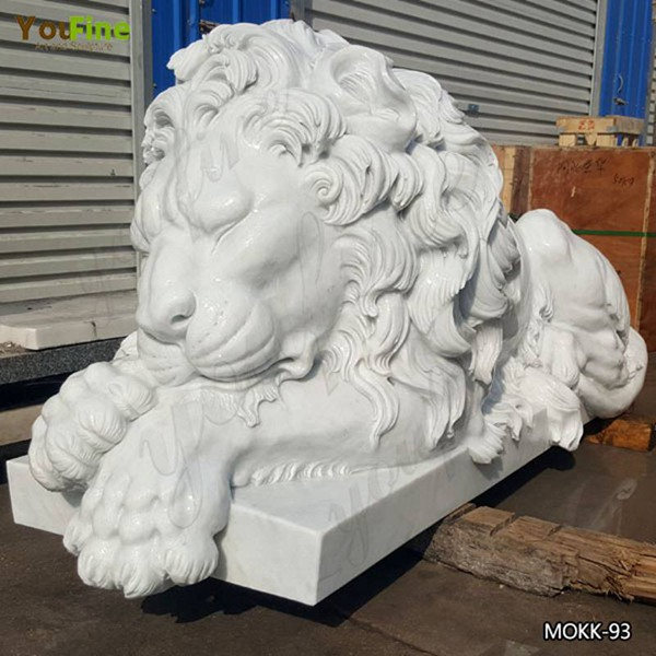 Hand Carved Guardian Western Sleeping Lion Statue Yard Decor for Sale MOKK-93