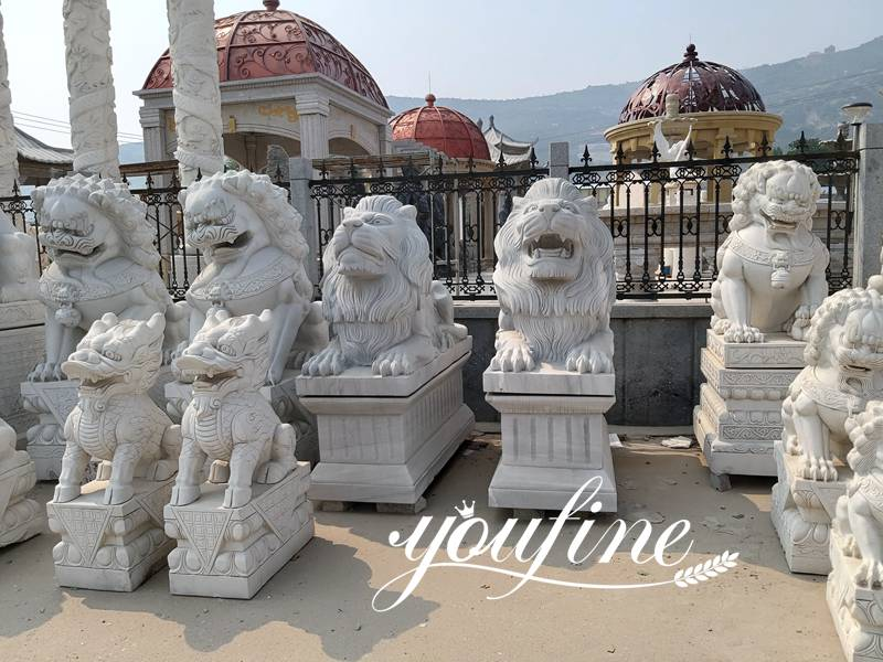 Pair of Life Size Chinese Foo Dog Guarding Lion Statue for Front Porch Factory Supply MOKK-119