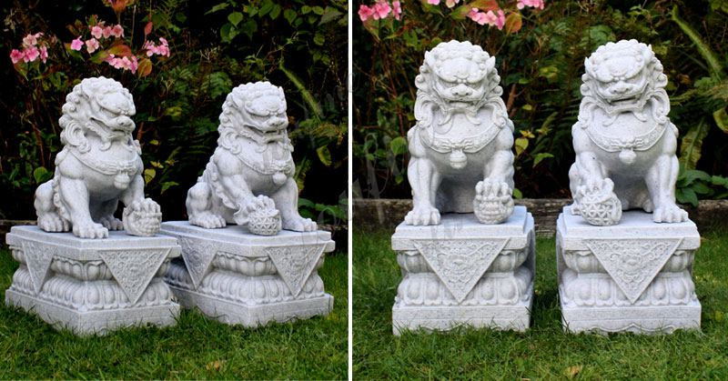 Pair of Life Size Chinese Foo Dog Guarding Lion Statue for Front Porch Factory Supply MOKK-119 Details