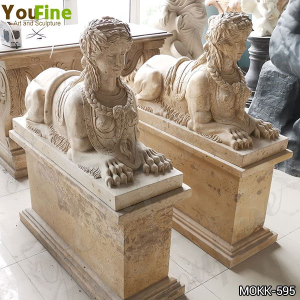 Classic Life Size Antique Marble Egyptian Sphinx Statue for Sale MOKK-595