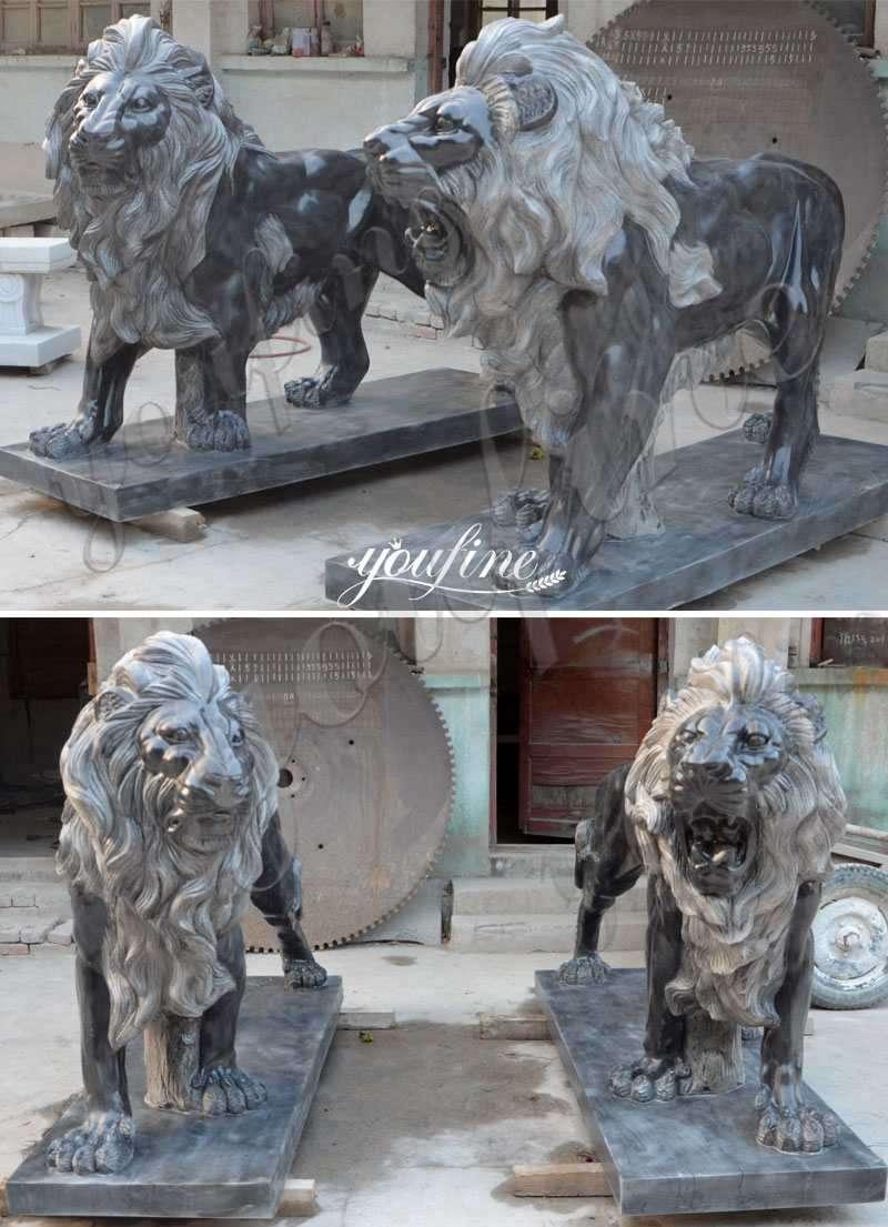 Life Size Black Marble Western Lion Statue Entrance Decor for Sale MOKK-443 Details