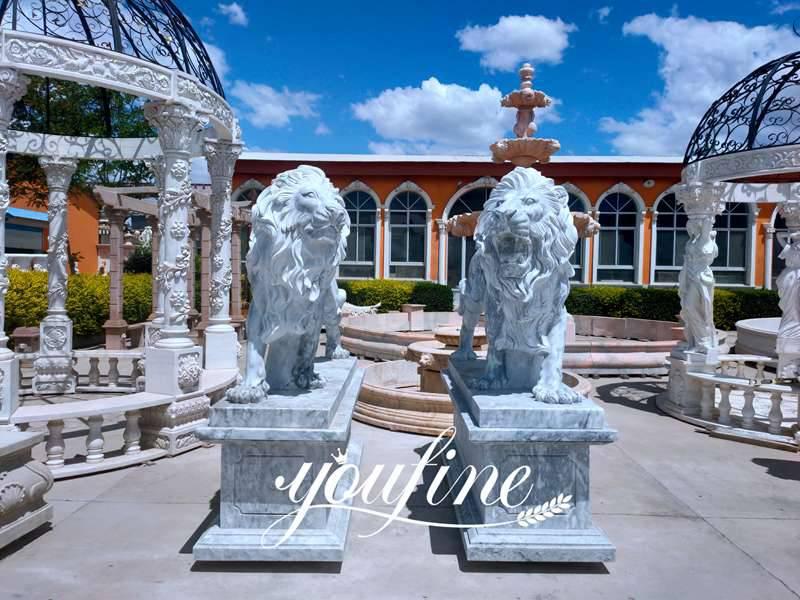 Life Size Black Marble Western Lion Statue Entrance Decor for Sale MOKK-443 Factory