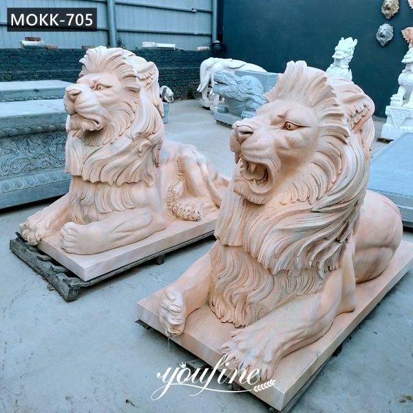 Life Size Sunset Red Marble Lion Statue Entrance Decor for Sale MOKK-705