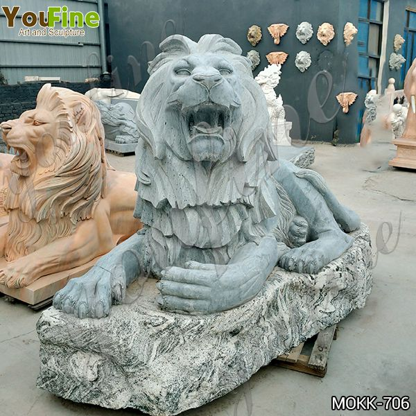 Hand Carved Large Antique Stone Marble Lion Statue for Sale