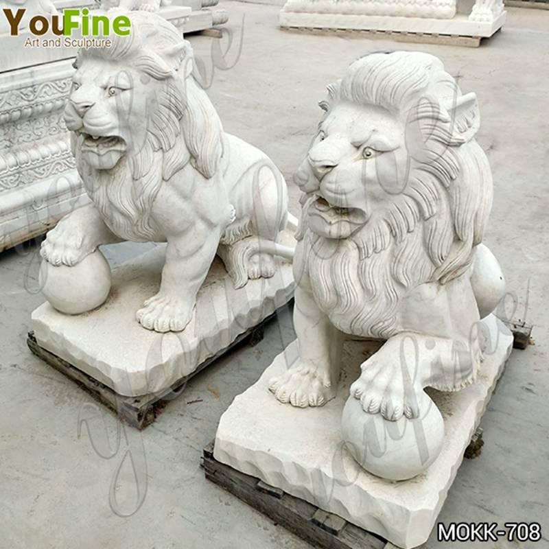 White Marble Lion Statue Guarding for Sale MOKK-708