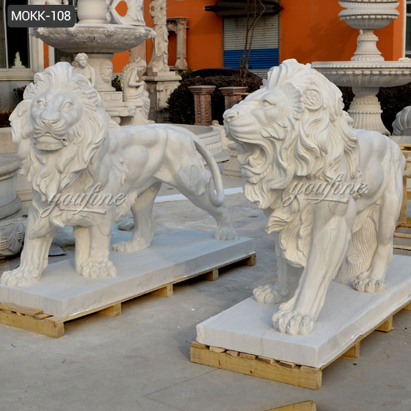 Large Hand Carved White Marble Lion Statue for Front Porch Supplier MOKK-108