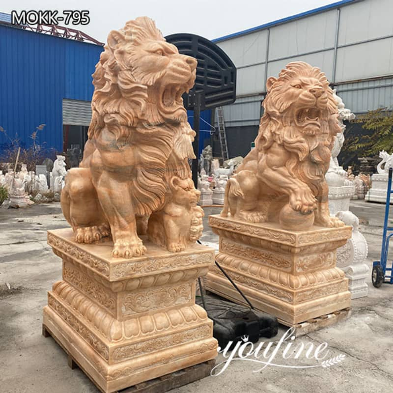 Life-size Marble Lion Statue for Front Porch from Factory Supply MOKK-795