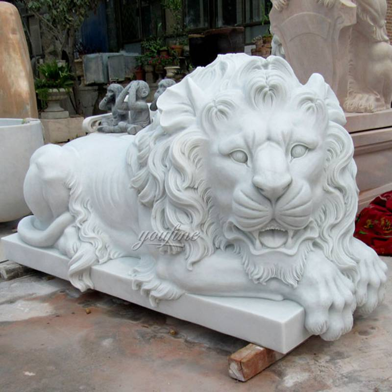 Life-size Outdoor White Marble Lying Lion Statue for Sale MOKK-109