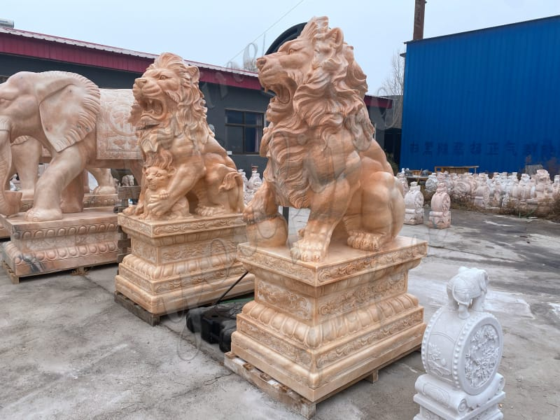 Marble Lion Statue for Front Porch from Factory Supply MOKK