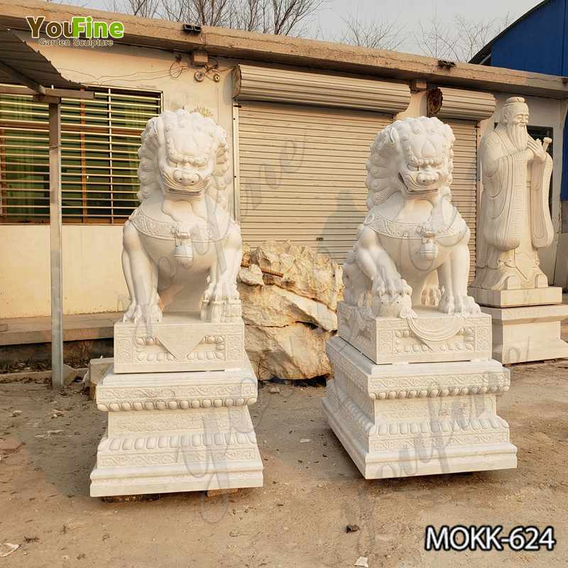 White Marble Chinese Guardian Lion Statue for Driveway Factory Supply MOKK-624